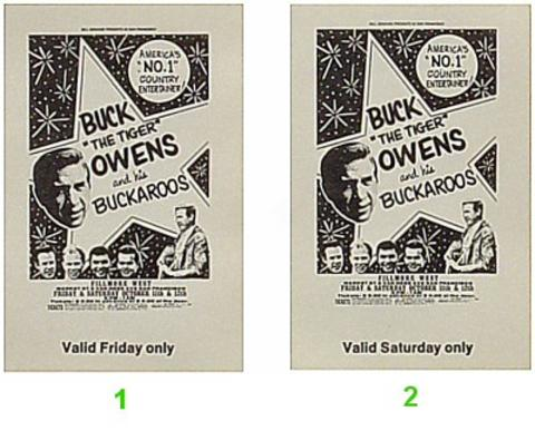 Buck Owens and the Buckaroos Vintage Ticket