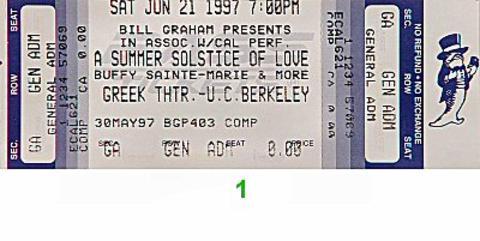 Buffy Sainte-Marie Vintage Ticket