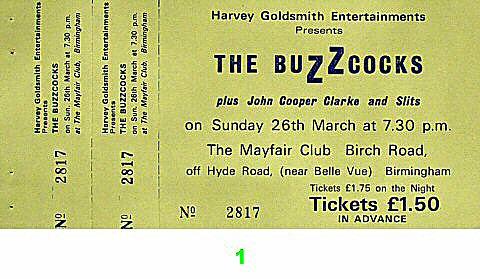 Buzzcocks Vintage Ticket