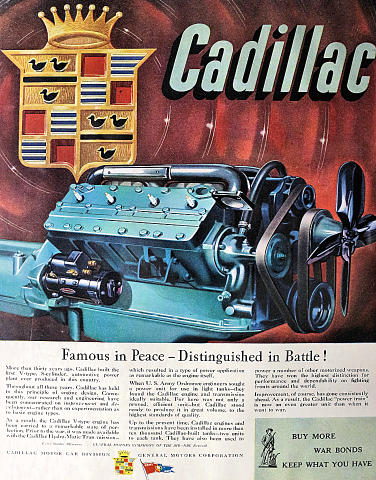 Cadillac: Famous In Peace - Distinguished In Battle! Vintage Ad