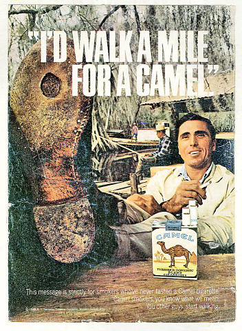 Camel: I'd Walk A Mile For A Camel Vintage Ad