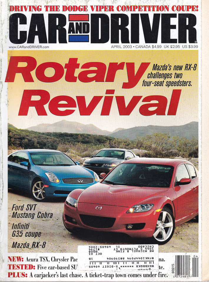 Car And Driver Vol. 48 No. 10 Magazine, Apr 1, 2003 at Wolfgang\'s