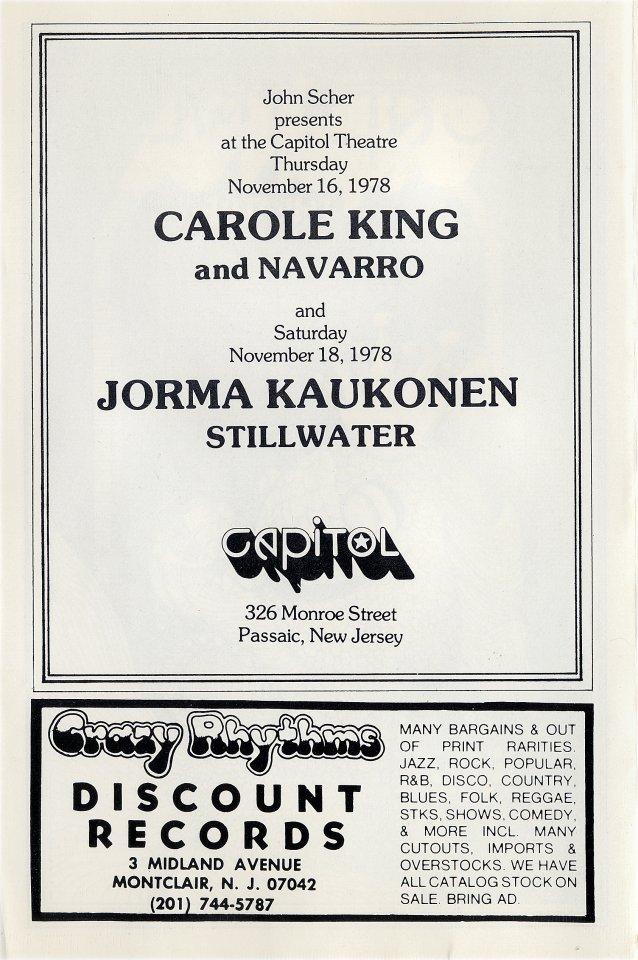 Carole King Program reverse side