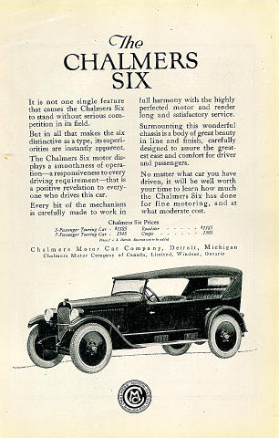 Chalmers Six Vintage Ad