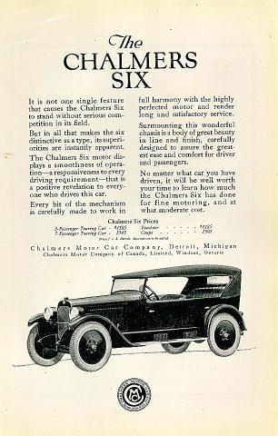 Chalmers Six Vintage Ad
