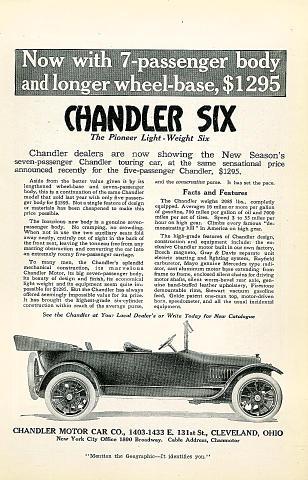 Chandler Six: 7 Passenger Vintage Ad