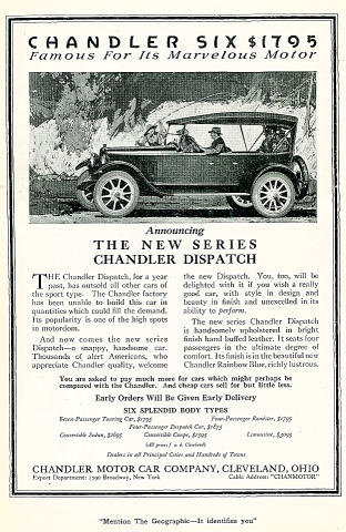 Chandler Six: Dispatch Vintage Ad