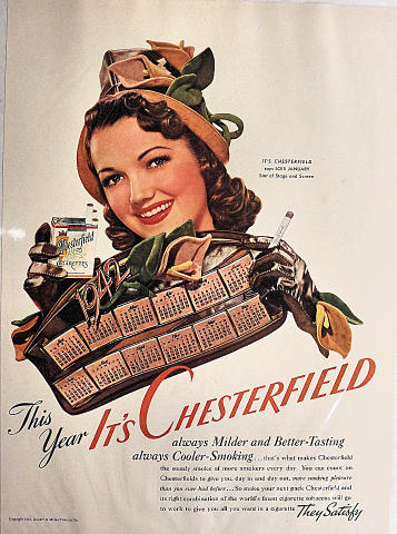 Chesterfield Cigarettes: This Year It's Chesterfield Vintage Ad
