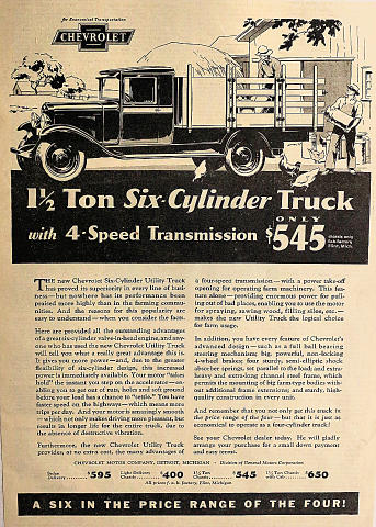 Chevrolet Six-Cylinder Utility Truck Vintage Ad