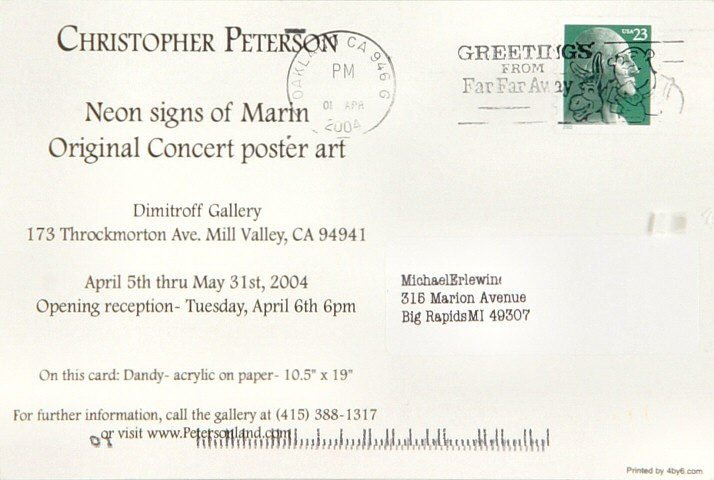 Christopher Peterson Postcard reverse side