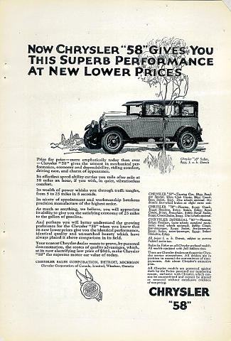 "Chrysler: ""58"" Sedan Vintage Ad"