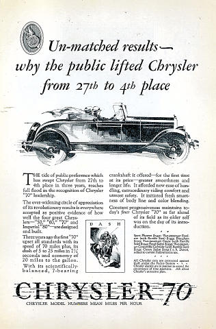 Chrysler 70 Vintage Ad