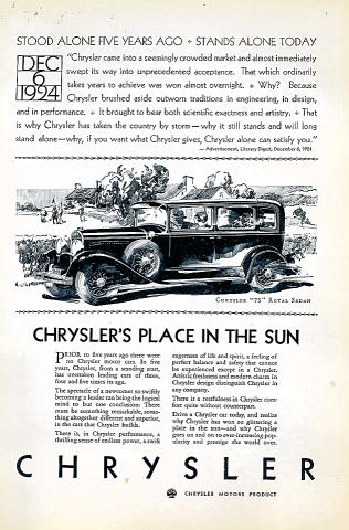 "Chrysler: ""75"" Royal Sedan Vintage Ad"