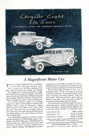 Chrysler: Eight DeLuxe Vintage Ad