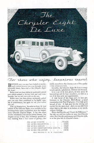 Chrysler Eight: DeLuxe Vintage Ad