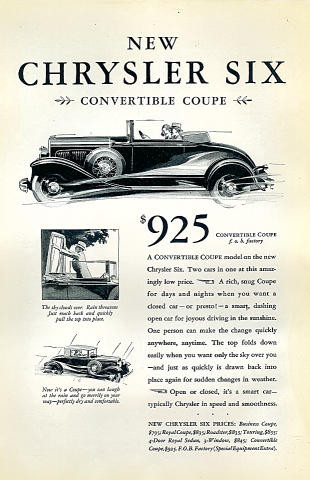 Chrysler Six: Convertible Coupe Vintage Ad