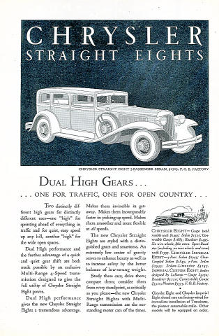 Chrysler Straight Eights: 5-Passenger Sedan Vintage Ad