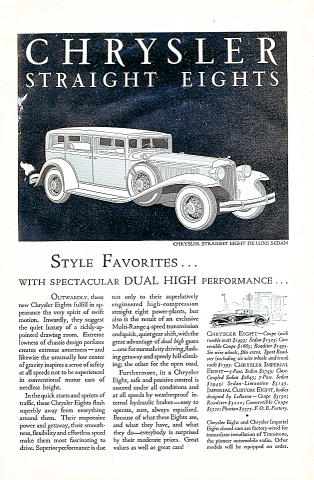 Chrysler Straight Eights: DeLuxe Sedan Vintage Ad
