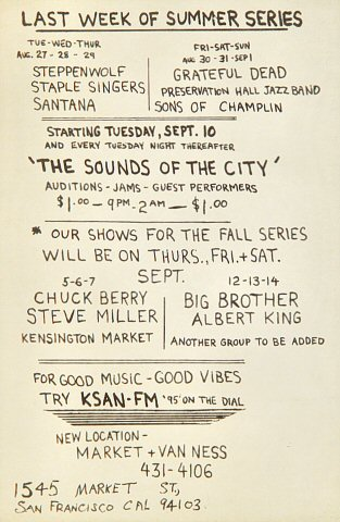 Chuck Berry Handbill reverse side