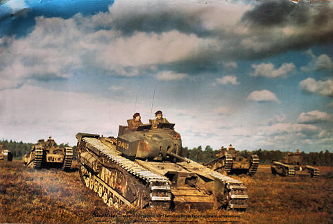 Churchill Mark II Tanks Of B Squadron, 43rd Battalion, Royal Tank Regiment, On Exercises Poster