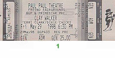 Clay Walker Vintage Ticket