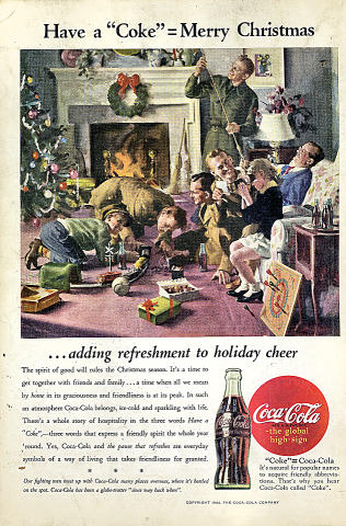 Coca-Cola: ...Adding Refreshment To Holiday Cheer Vintage Ad