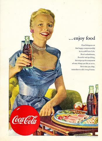 Coca-Cola: ...Enjoy Food Vintage Ad