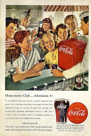 Coca-Cola: Home-Town Club Vintage Ad