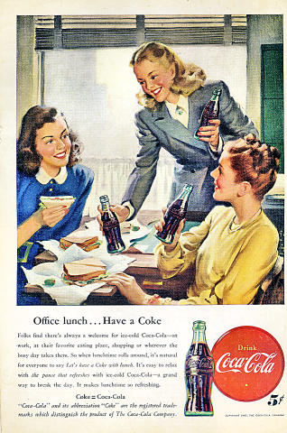 Coca-Cola: Office Lunch...Have A Coke Vintage Ad