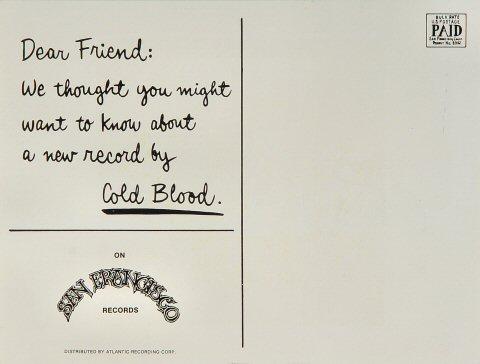 Cold Blood Postcard reverse side