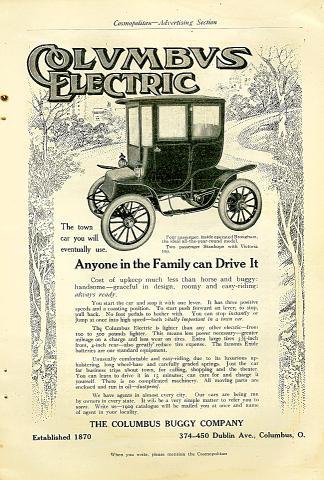 Columbus Electric: Four Passenger Brougham Vintage Ad