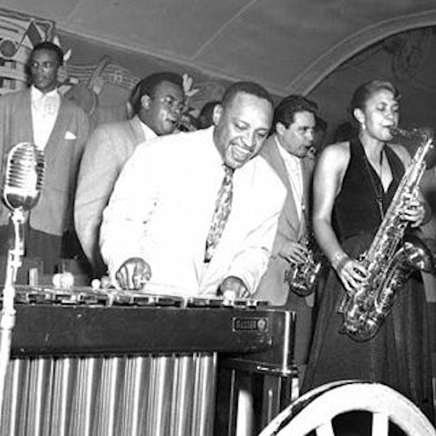 Jazz vibraphonist Lionel Hampton antique music photo