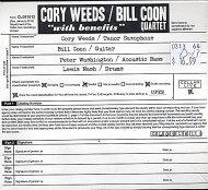 Cory Weeds / Bill Coon Quartet CD