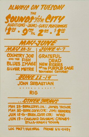 Country Joe & the Fish Handbill reverse side