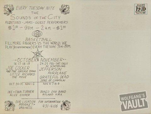 Country Joe & the Fish Postcard reverse side