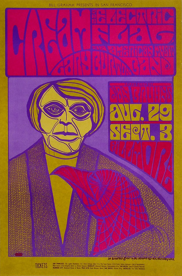 Cream Vintage Concert Poster From Fillmore Auditorium Aug