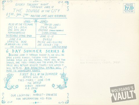Creedence Clearwater Revival Postcard reverse side
