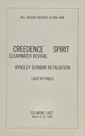 Creedence Clearwater Revival Program reverse side