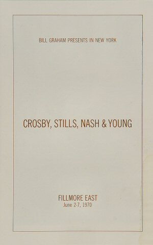 Crosby, Stills, Nash & Young Program reverse side