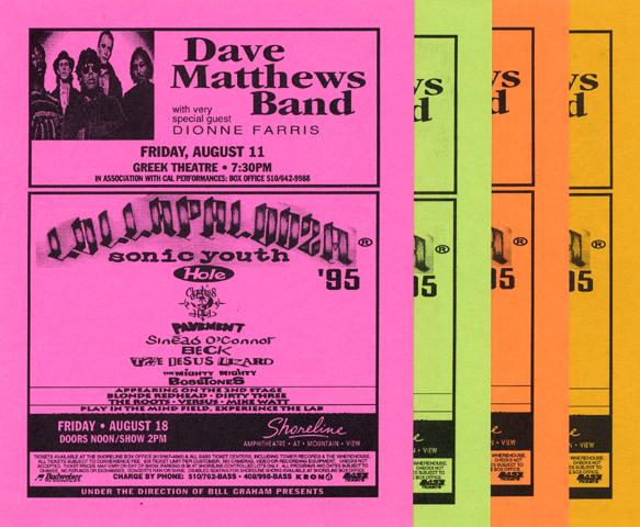 Dave Matthews Band Handbill reverse side