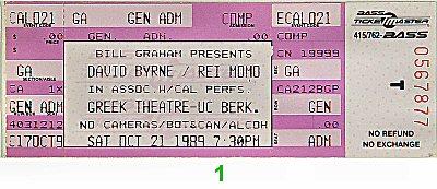 David Byrne Vintage Ticket