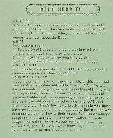Dead Head TV Handbill