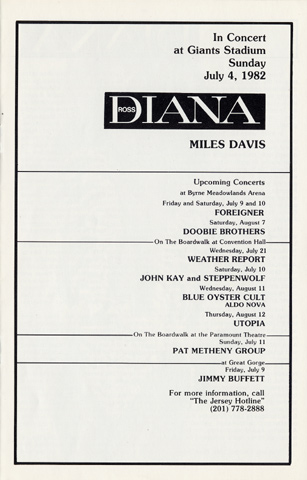 Diana Ross Program reverse side