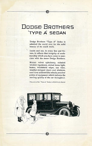 "Dodge Brothers: ""Type A"" Sedan Vintage Ad"