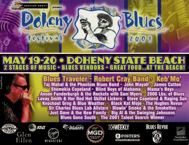 Doheny Blues Festival Handbill reverse side