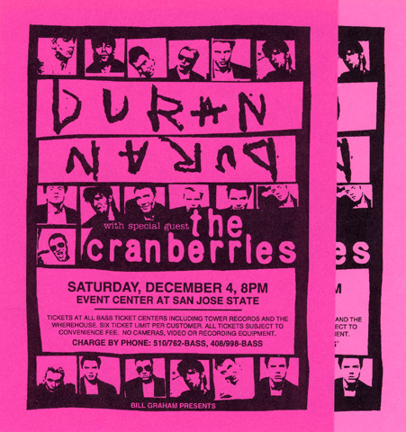 Duran Duran Handbill reverse side
