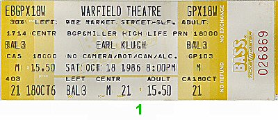 Earl Klugh Vintage Ticket
