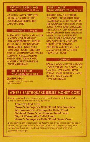 Earthquake Relief Benefit Program reverse side