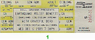 Earthquake Relief Benefit Vintage Ticket