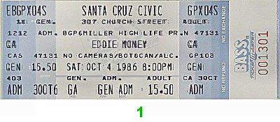 Eddie Money Vintage Ticket
